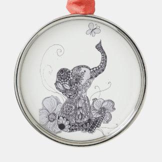 Zentangle Elephant Butterfly Christmas Ornament