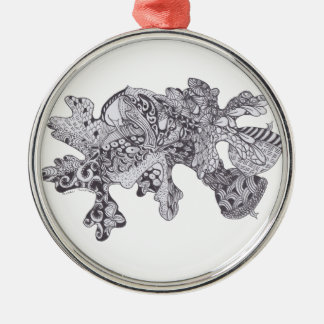 Zentangle Fall Leaves with Acorns Christmas Ornament
