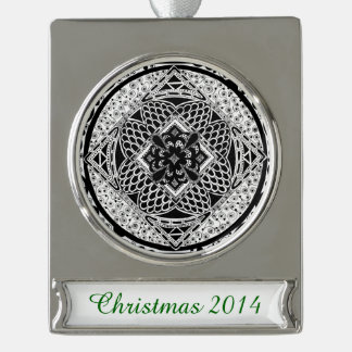 Zentangle in Black & White Silver Plated Banner Ornament