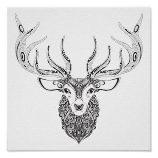Zentangle Inspired Deer Horned Head 2 Poster