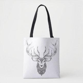 Zentangle Inspired Deer Horned Head 2 Tote Bag