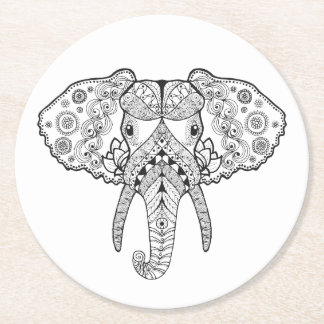 Zentangle Inspired Elephant Round Paper Coaster
