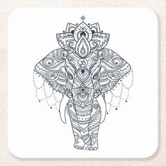 Zentangle Inspired Elephant Square Paper Coaster