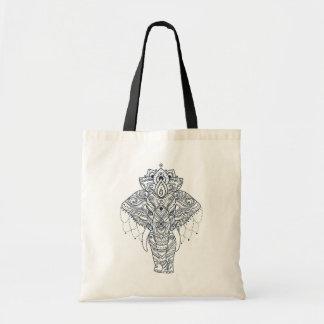 Zentangle Inspired Elephant Tote Bag