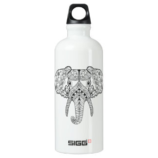 Zentangle Inspired Elephant Water Bottle