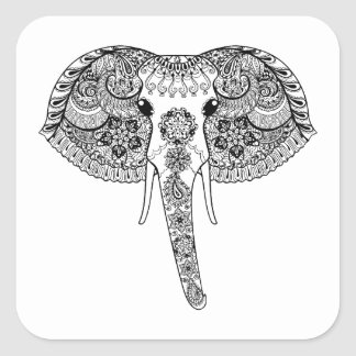 Zentangle Inspired Indian Elephant Square Sticker