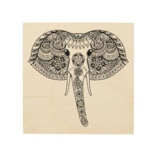 Zentangle Inspired Indian Elephant Wood Print