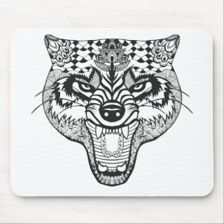 Zentangle Inspired Wolf Mouse Mat