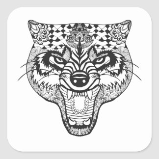 Zentangle Inspired Wolf Square Sticker