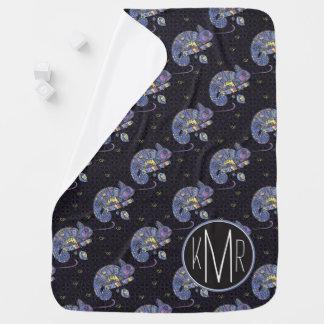 Zentangle Lizard | Monogram Baby Blanket