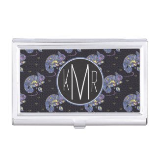 Zentangle Lizard | Monogram Business Card Holder