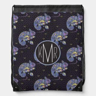 Zentangle Lizard | Monogram Drawstring Bag