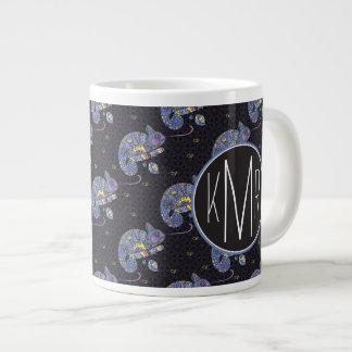 Zentangle Lizard | Monogram Large Coffee Mug