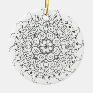 zentangle mandala - ocean christmas tree ornament