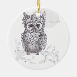 Zentangle Owl Christmas Tree Ornament