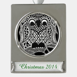 Zentangle Owl Silver Plated Banner Ornament