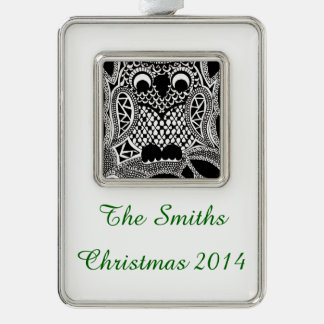 Zentangle Owl Silver Plated Framed Ornament