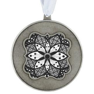 Zentangle Rosette Scalloped Pewter Ornament