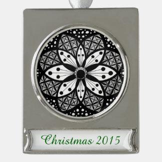 Zentangle Rosette Silver Plated Banner Ornament