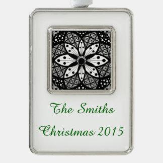 Zentangle Rosette Silver Plated Framed Ornament