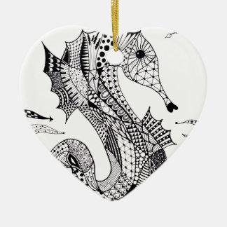 Zentangle Sea Horse Christmas Tree Ornaments