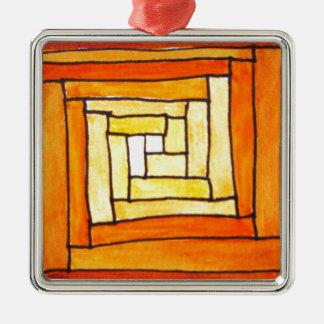 Zentangle square Art Deco yellow retro pattern Christmas Tree Ornaments