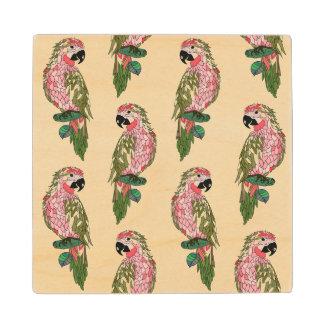 Zentangle Style Parrots 2 Wood Coaster