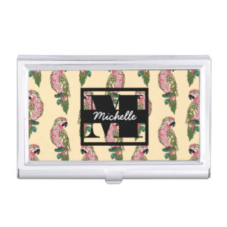 Zentangle Style Parrots | Monogram Business Card Cases
