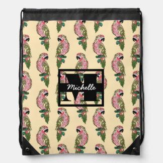Zentangle Style Parrots | Monogram Drawstring Bag