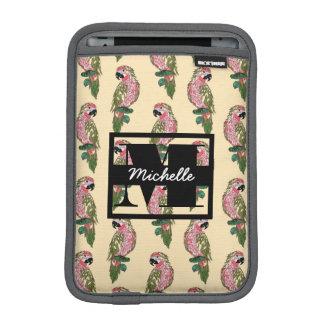 Zentangle Style Parrots | Monogram iPad Mini Sleeve