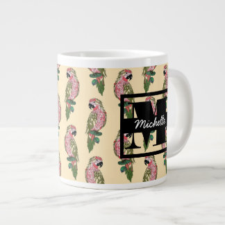 Zentangle Style Parrots | Monogram Large Coffee Mug
