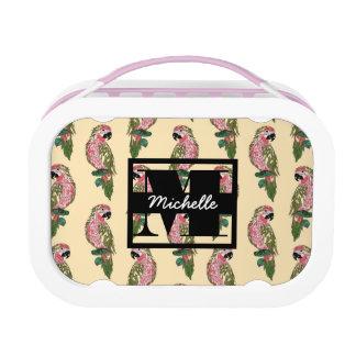 Zentangle Style Parrots | Monogram Lunch Box