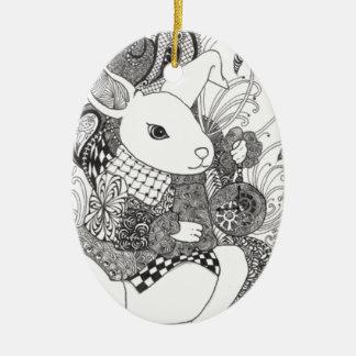 Zentangled White Rabbit from Alice in Wonderland Ornament
