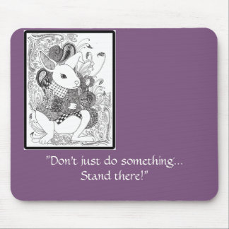 Zentangled White Rabbit from Alice in Wonderland Mouse Pad