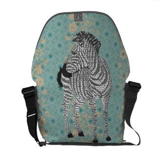 Zenya Black, White & Blue Messenger Bag