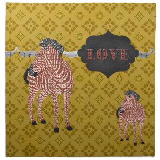 Zenya Gold Rock-n-Roll Retro Love American MoJo Na Cloth Napkins
