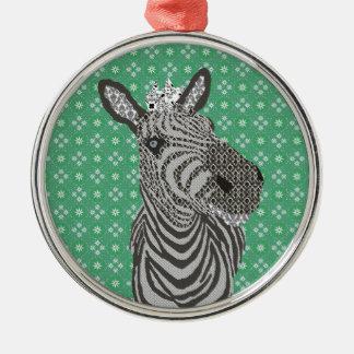 Zenya Round Metal Christmas Ornament