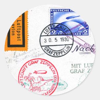 Zeppelin Adventure Travel Time Round Sticker