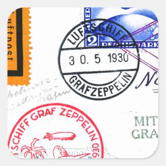 Zeppelin Adventure Travel Time Square Sticker
