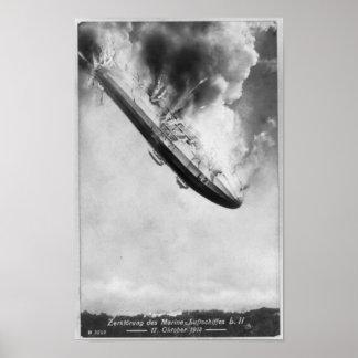 Zeppelin Burning Falling From Sky 1913 Poster