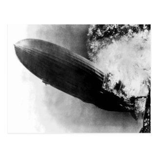Zeppelin Burning Postcard