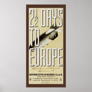 Zeppelin Hindenburg Vintage Travel Poster