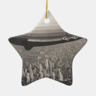 Zeppelin over New York City Ceramic Star Decoration
