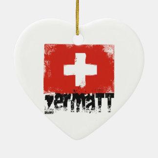 Zermatt Grunge Flag Ceramic Heart Decoration