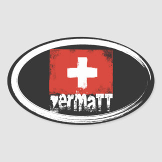 Zermatt Grunge Flag Oval Sticker