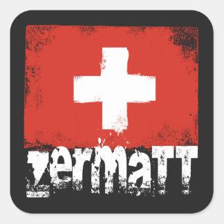 Zermatt Grunge Flag Square Sticker