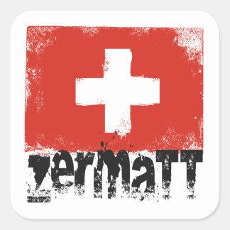 Zermatt Grunge Flag Square Stickers