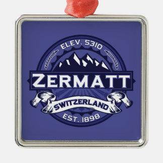 Zermatt Logo Midnight Silver-Colored Square Decoration