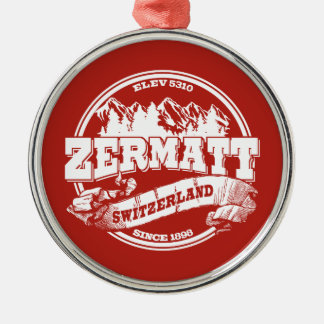 Zermatt Old Circle Red Silver-Colored Round Decoration