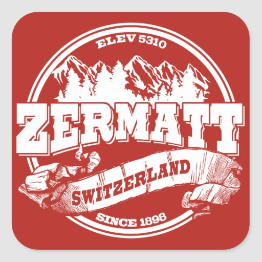 Zermatt Old Circle Red Square Stickers